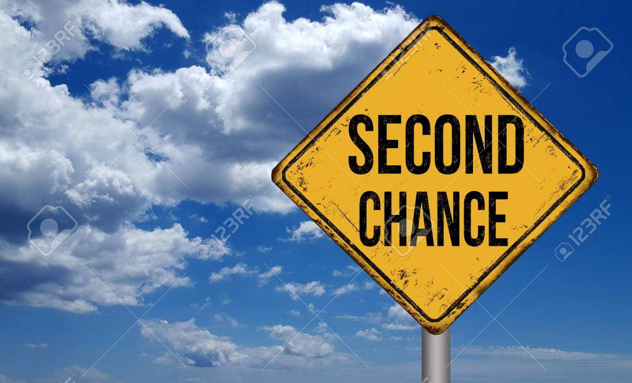Second chance metallic vintage sign over blue sky with clouds - 89515285