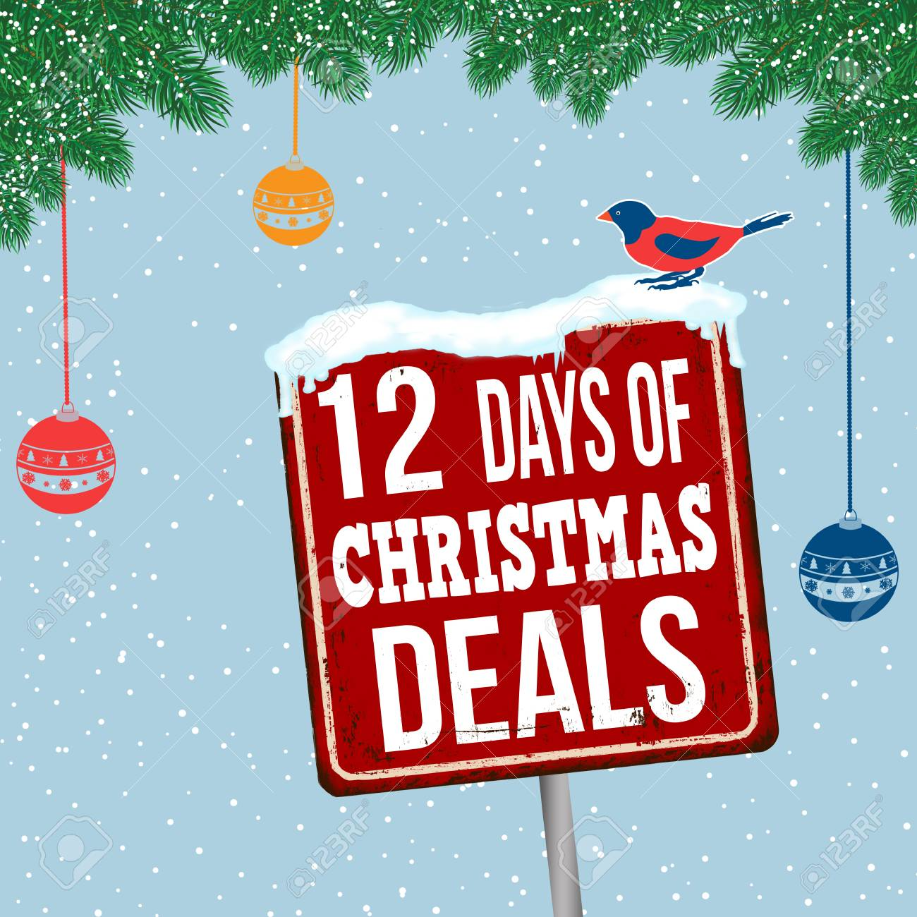 12 Days Of Christmas Deals Vintage Rusty Metal Sign On Christmas ...