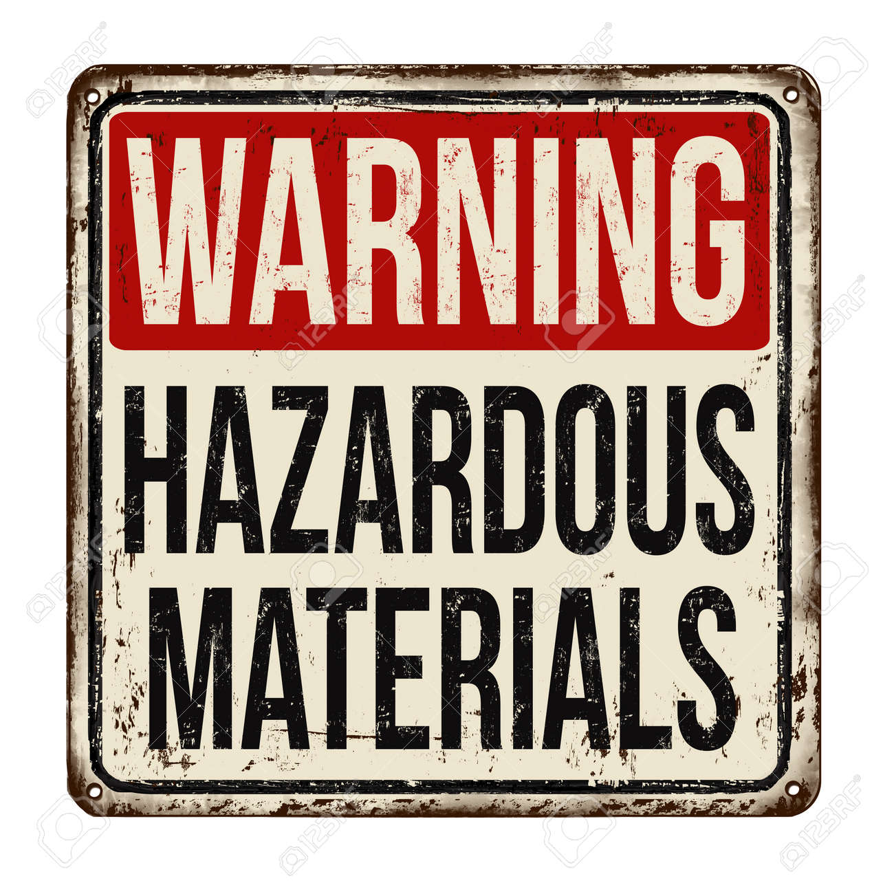 Hazardous materials vintage rusty metal sign on a white background, vector illustration - 91651746