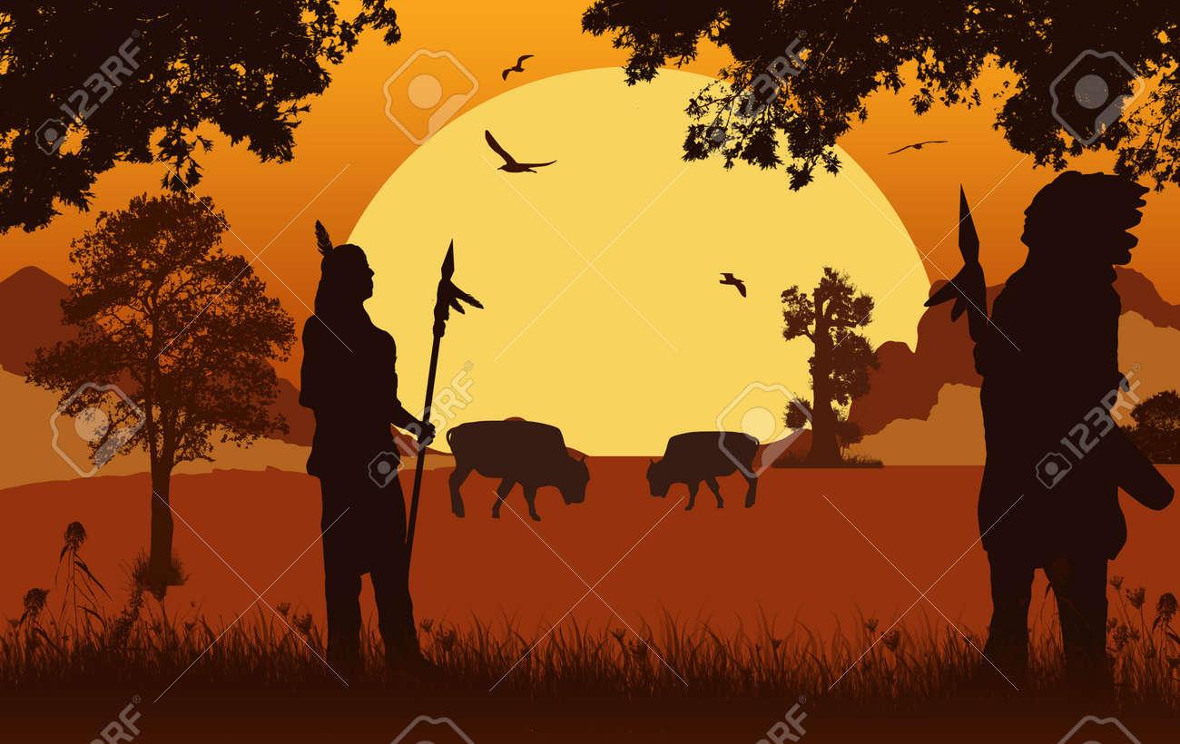 Native american indian silhouettes on beautiful orange sunset, vector illustration - 93448157