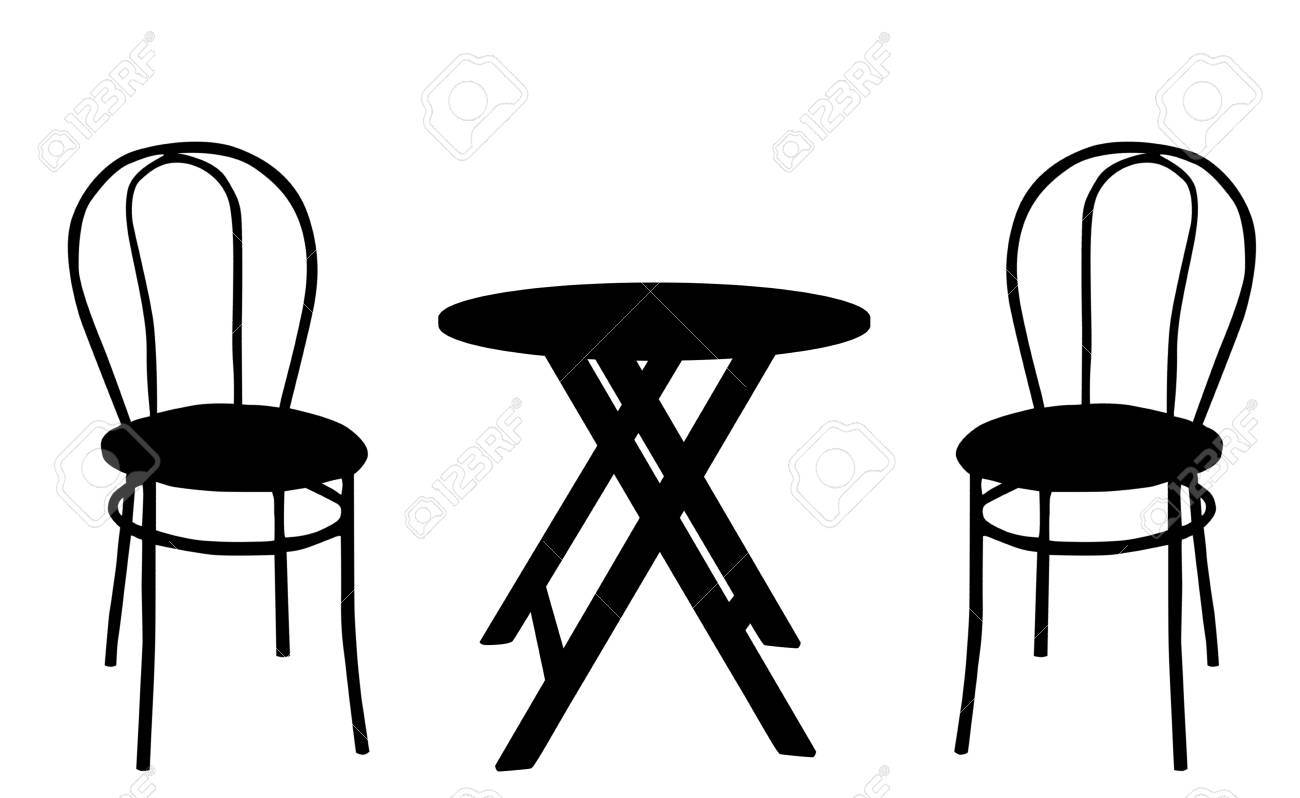 Runde Holztisch Und Stühle Illustration Lizenzfrei Nutzbare