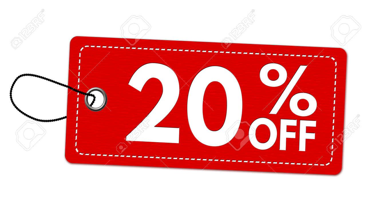 Special offer 20% off label or price tag on white background, vector illustration - 99120987