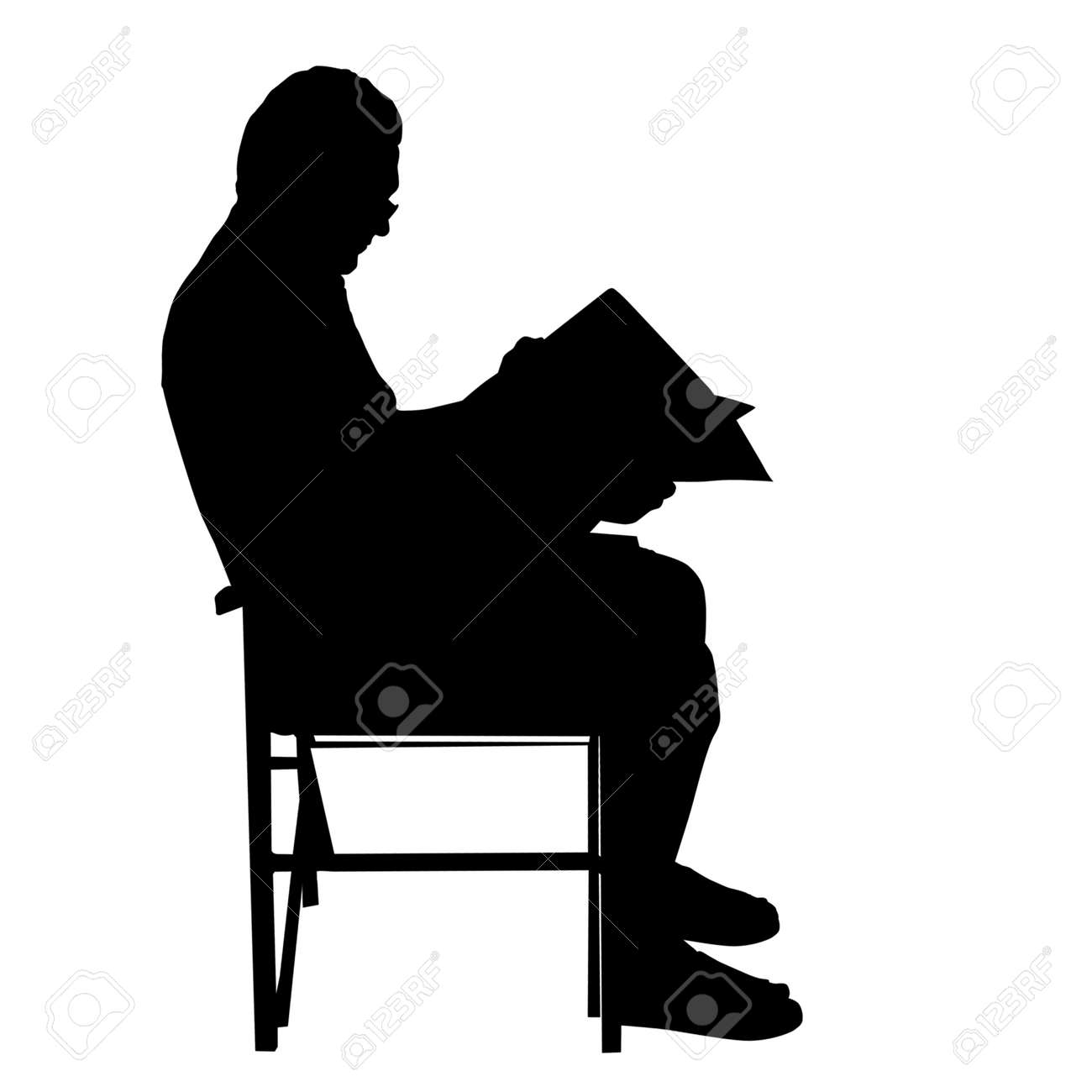 Senior man reading newspapers on the chair ,vector silhouette on white background - 111914604