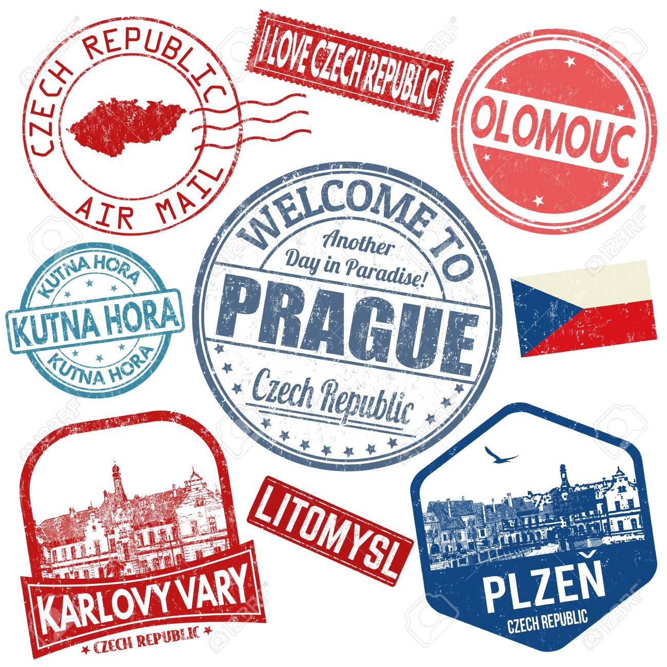 Set of travel grunge stamps with Czech Republic on white background, vector illustration - 138784507