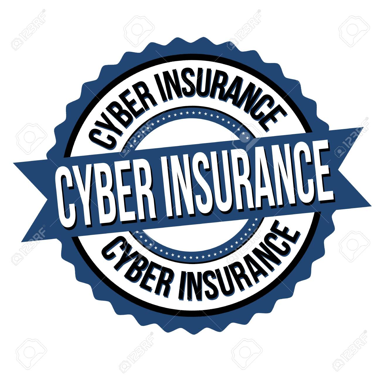 Cyber insurance label or sticker on white background, vector illustration - 140524476