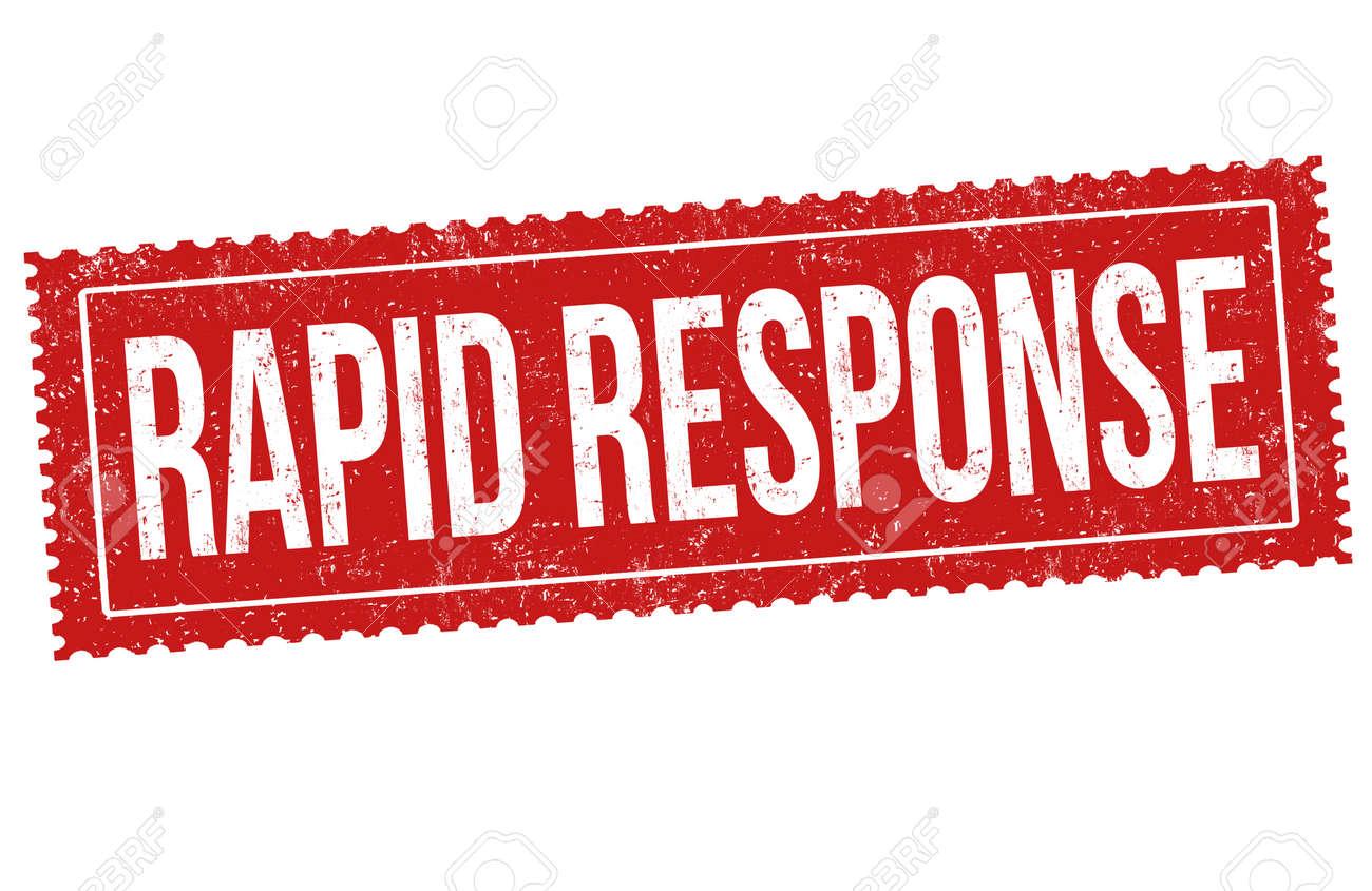Rapid response grunge rubber stamp on white background, vector illustration - 164461241