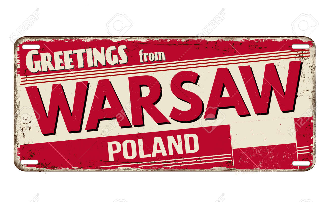 Greetings from Warsaw vintage rusty metal plate on a white background, vector illustration - 169670794