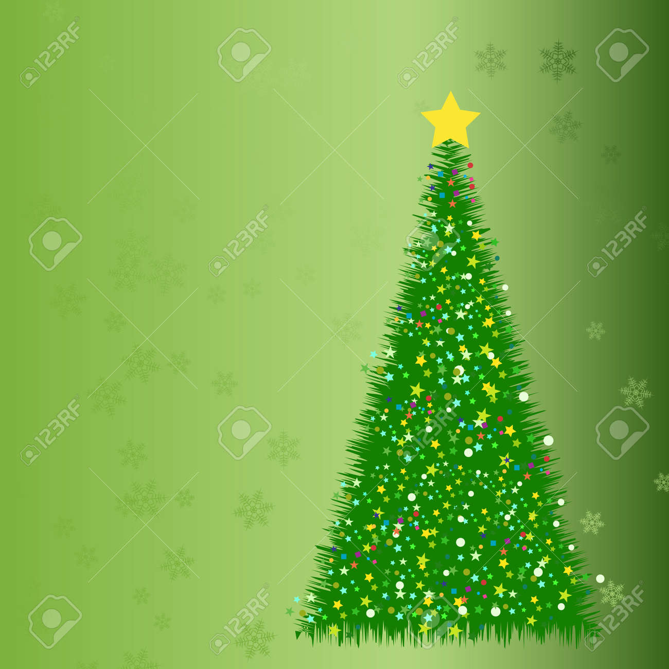 Abstract fir tree from stars, on the green background Stock Vector - 8142692