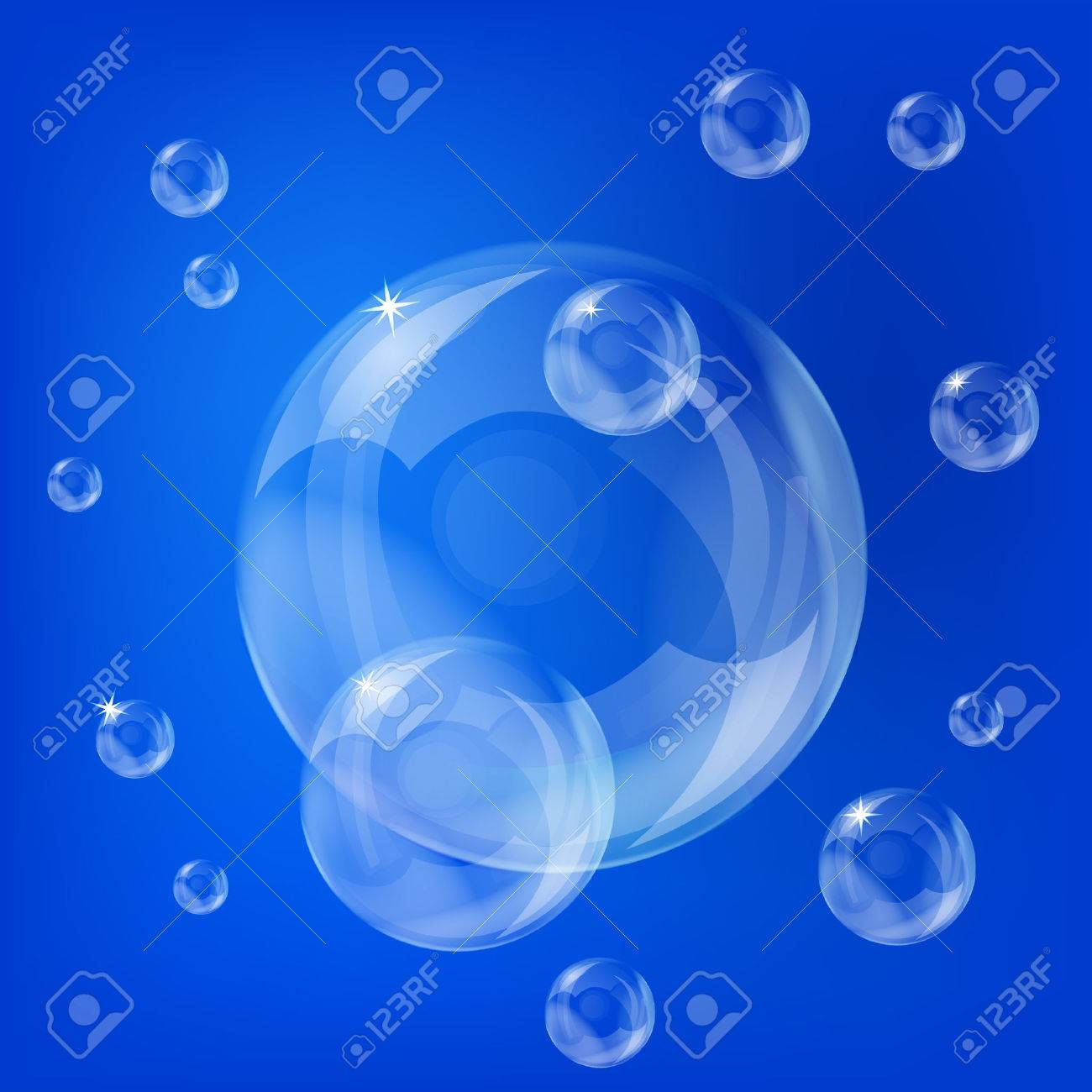 Group pf transoarent soap bubbles on the blue background Stock Vector - 8142719