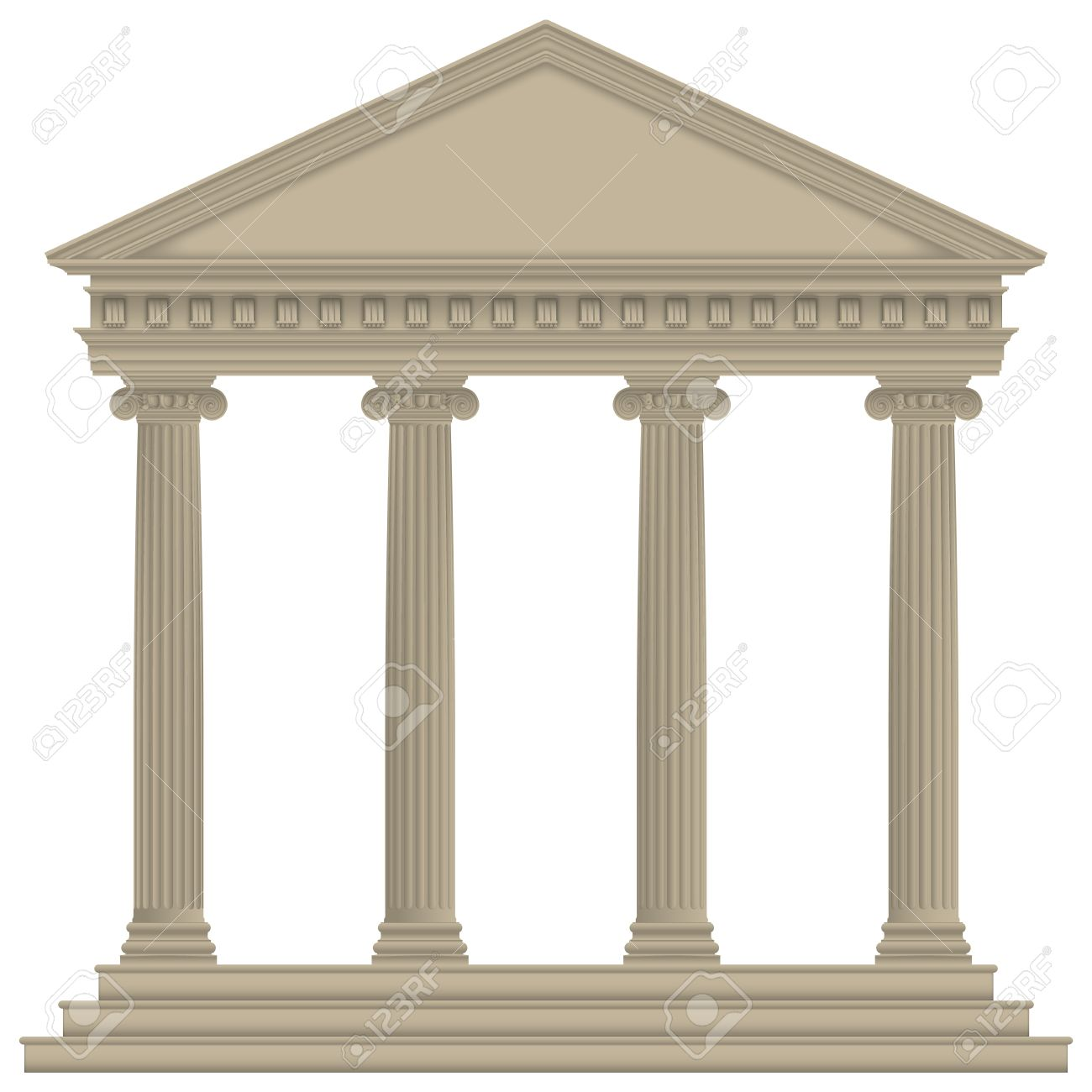 Roman/Greek Temple with ionic columns, high detailed Stock Vector - 22007252