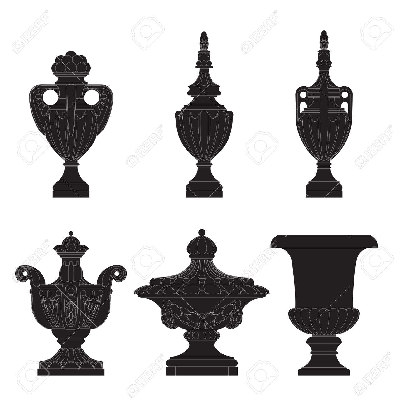 set of classic urns, planters  in 6 variation Stock Vector - 22680079