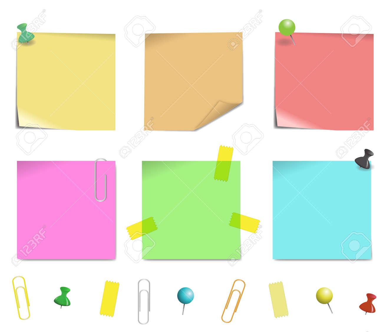 白い背景イラストに分離した付箋紙のイラスト素材ベクタ Image