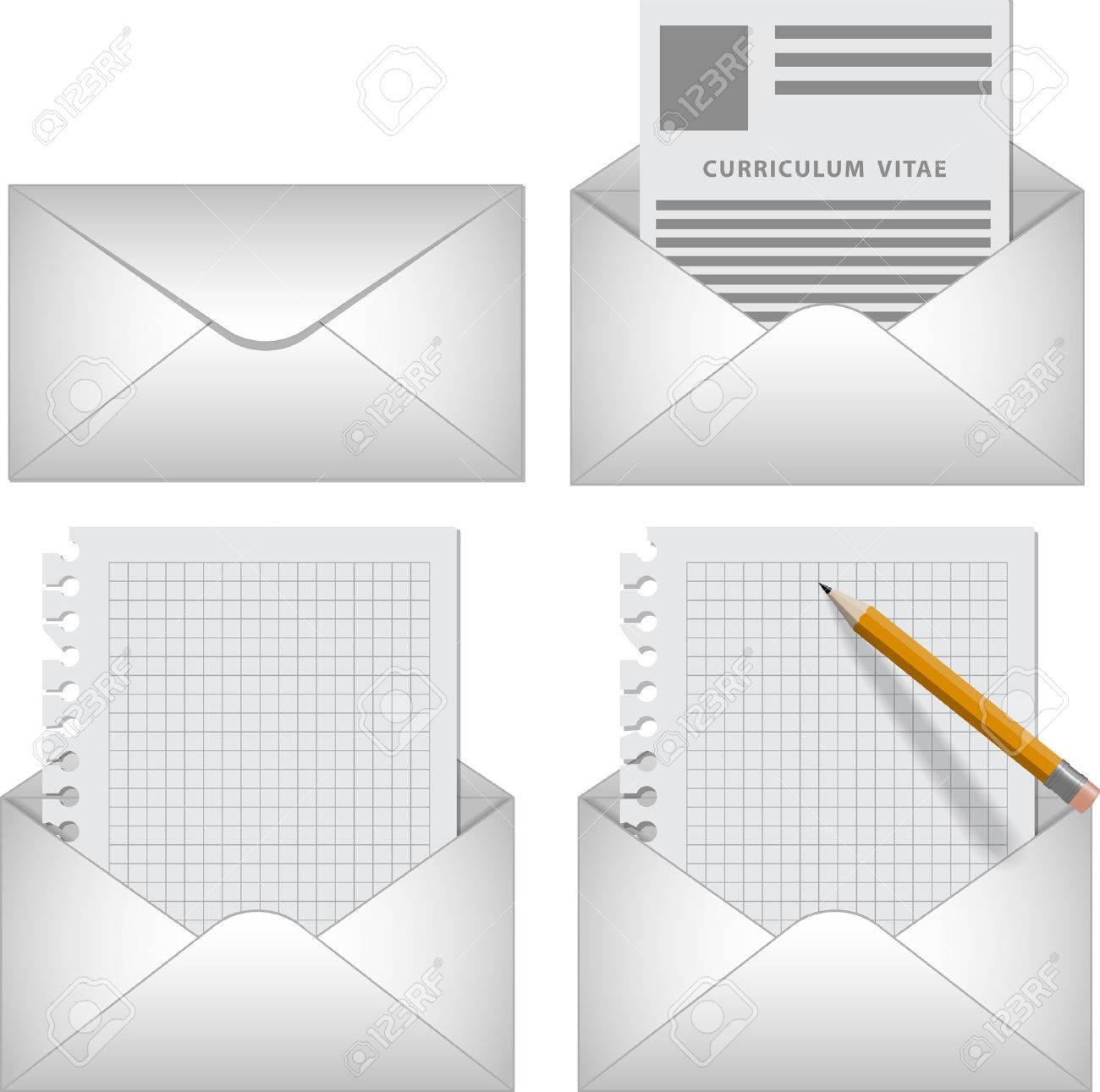 Vektor-Set Briefumschlag-Symbol Mit Anschreiben, Lebenslauf, Blank ...