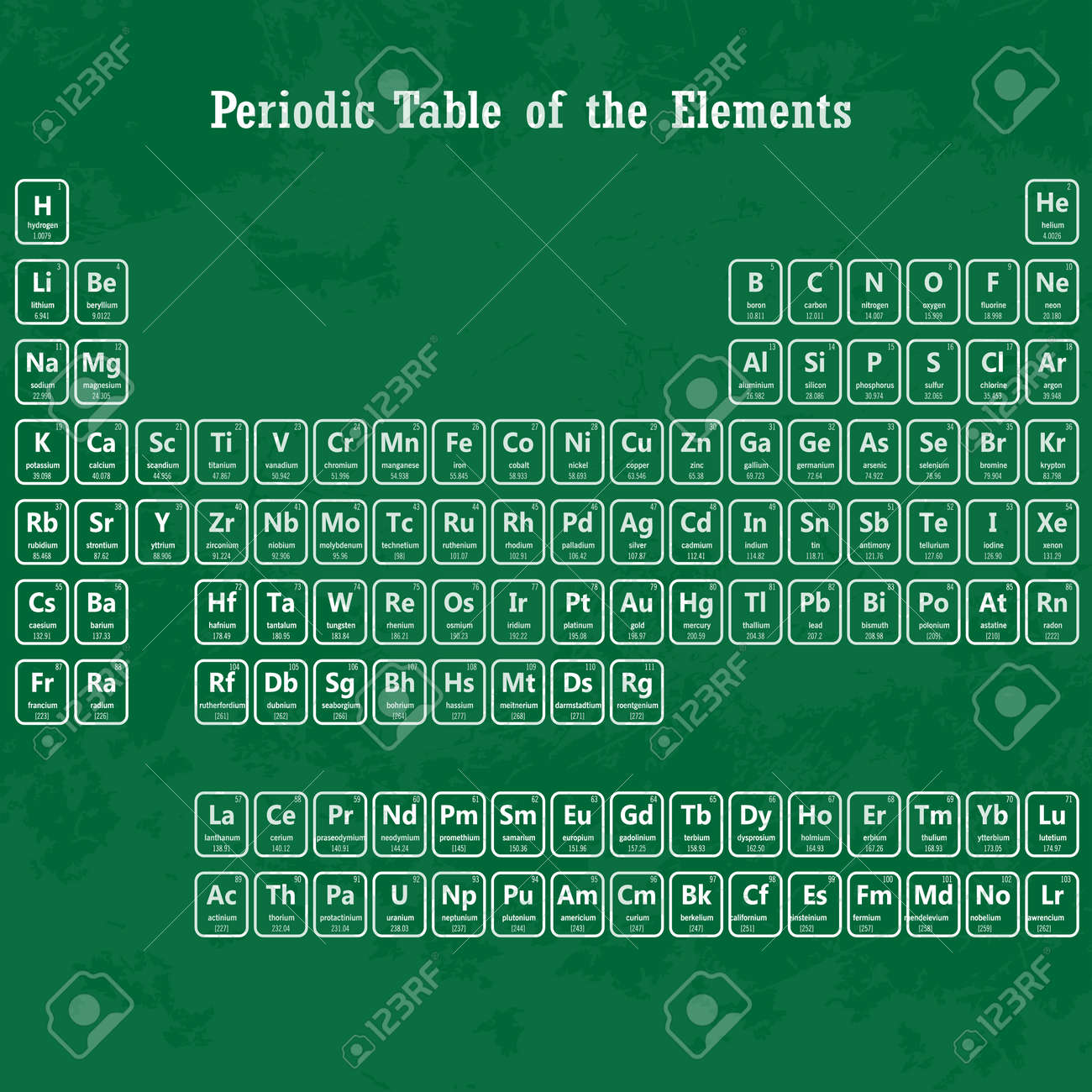 Periodic table of the elements with atomic number symbol and periodic table of the elements with atomic number symbol and weight on chalk board stock gamestrikefo Choice Image