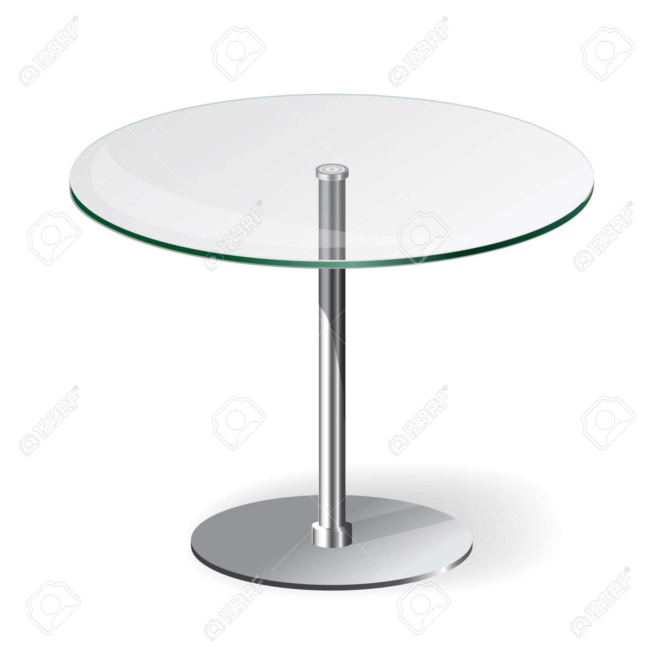 Ronde Glazen Eettafel.Moderne Ronde Glazen Tafel Geisoleerd Op Wit Royalty Vrije Cliparts