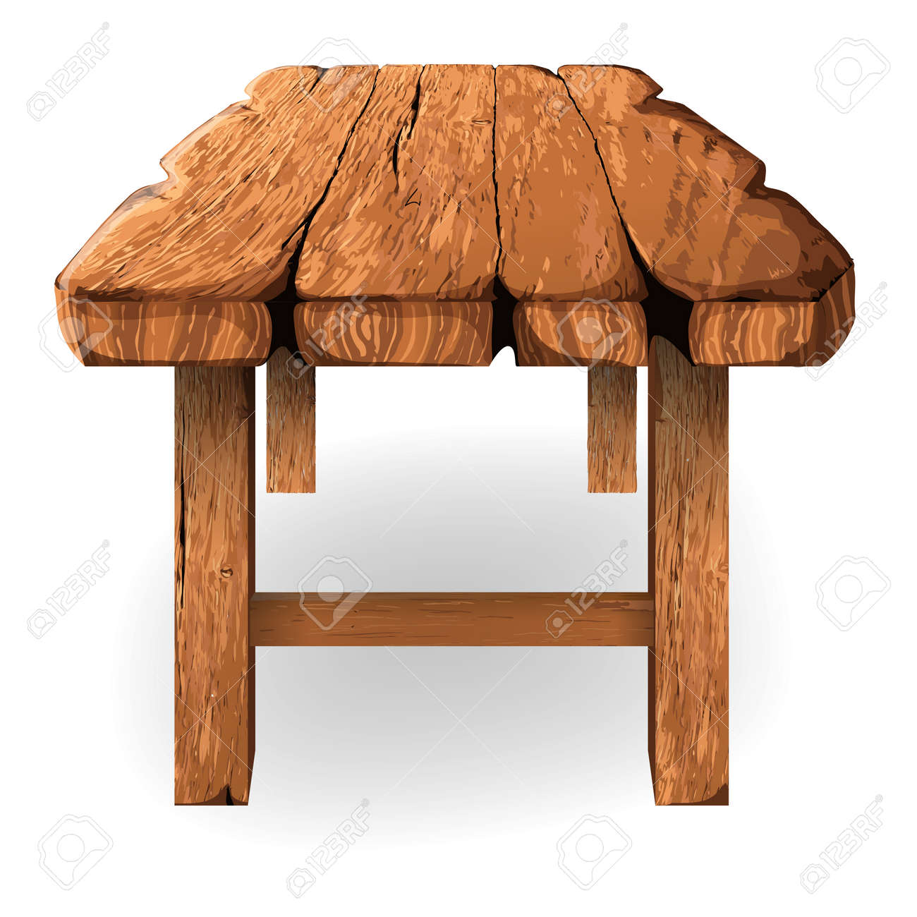 Bon Illustration Of Wooden Table Made Of Thick Rough Planks Stock Vector    60579605