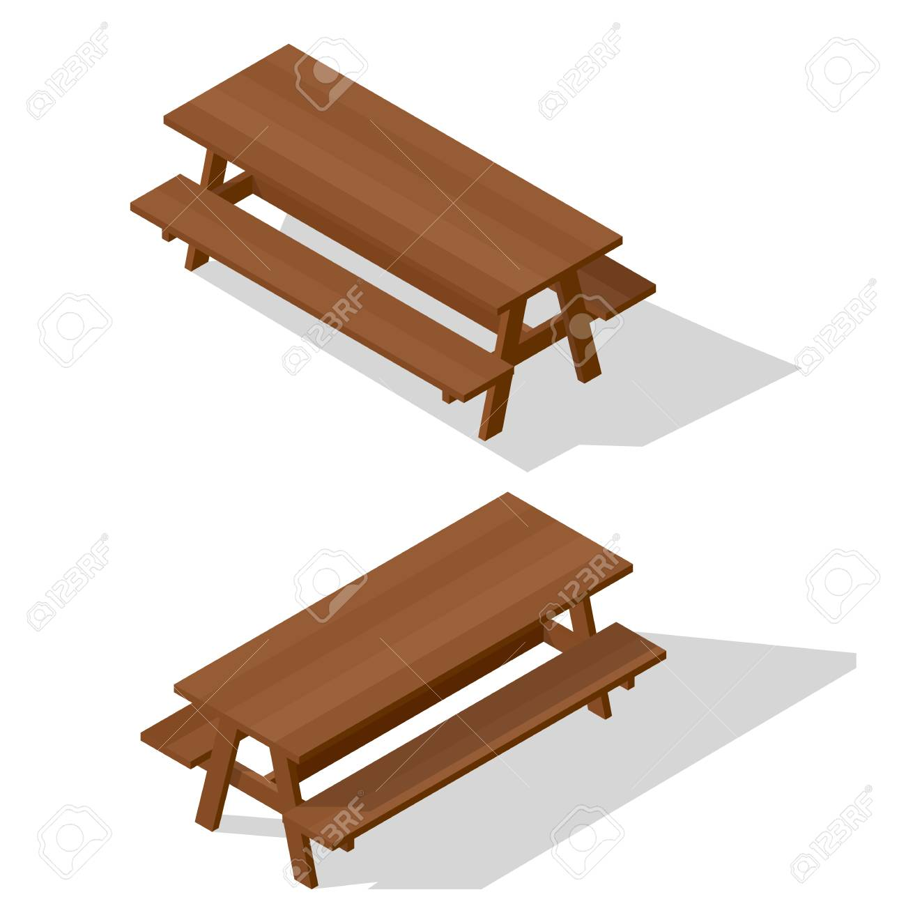 Surprising Isometric Street Wooden Table With Benches 3D Vector Outdoor Squirreltailoven Fun Painted Chair Ideas Images Squirreltailovenorg