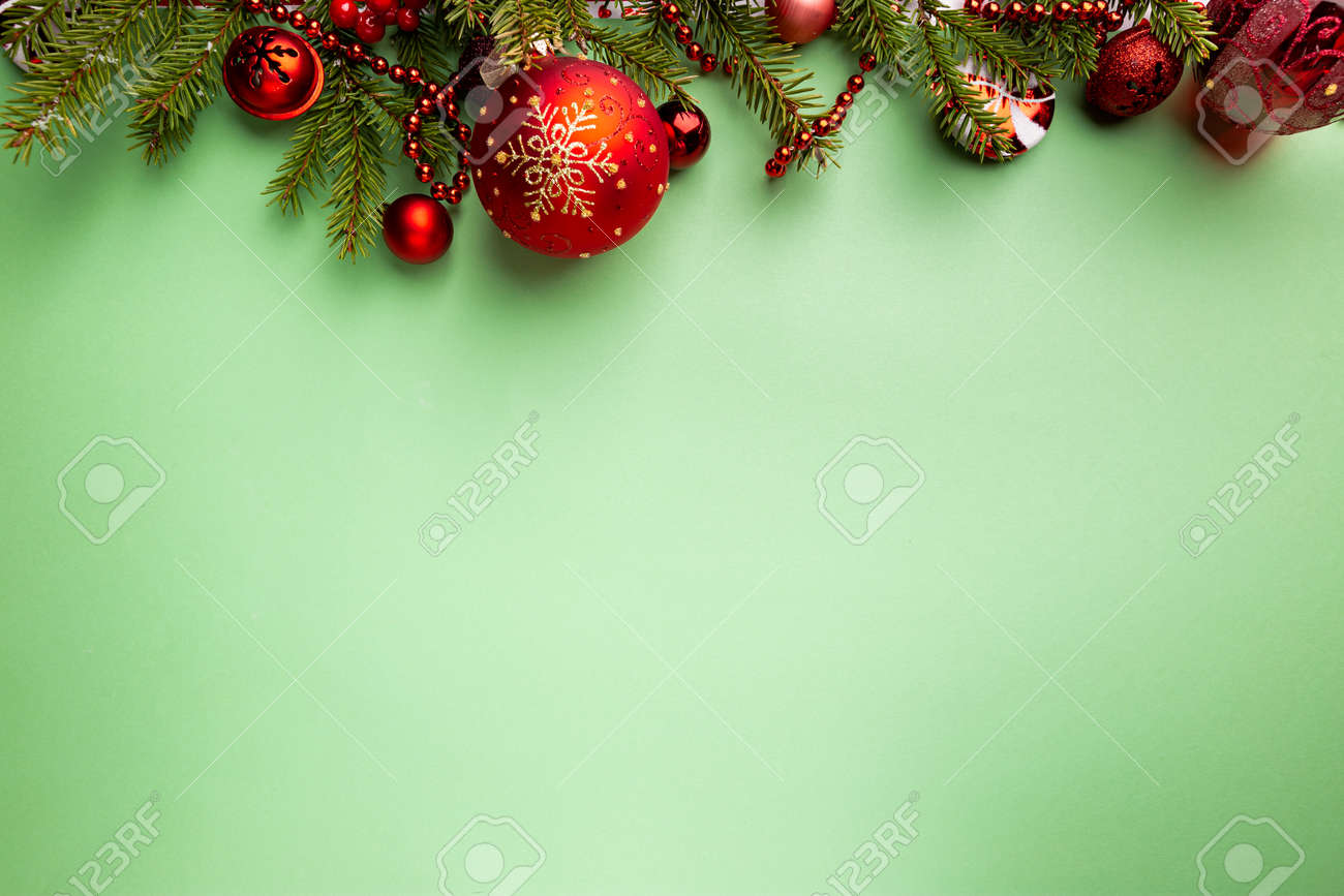 Christmas holidays composition on green background with copy space for your text - 158209331