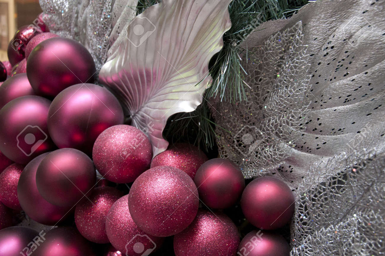 burgundy and silver decorations on a large christmas tree stock photo 8336552