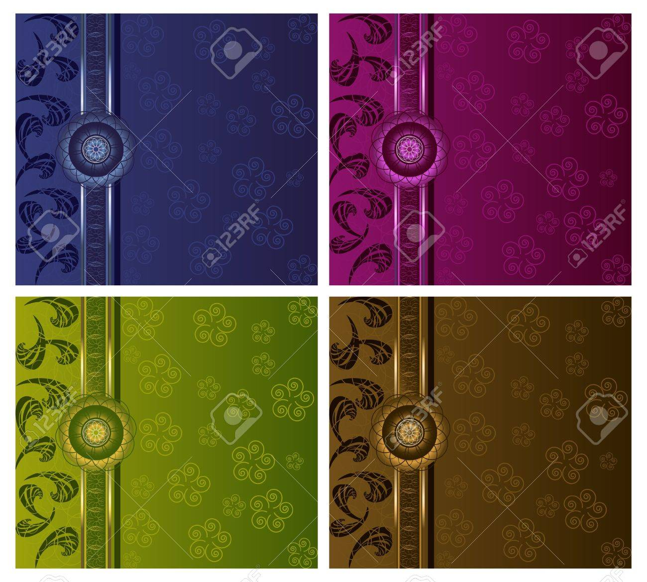 Floral luxury backgrounds set Stock Vector - 12853872