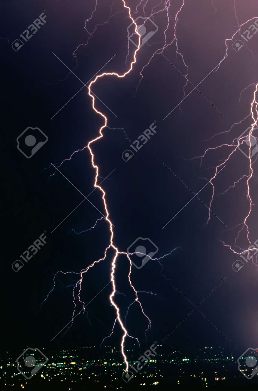 A Real Lightning Bolt Strike In Metropolitan Area Stock Photo