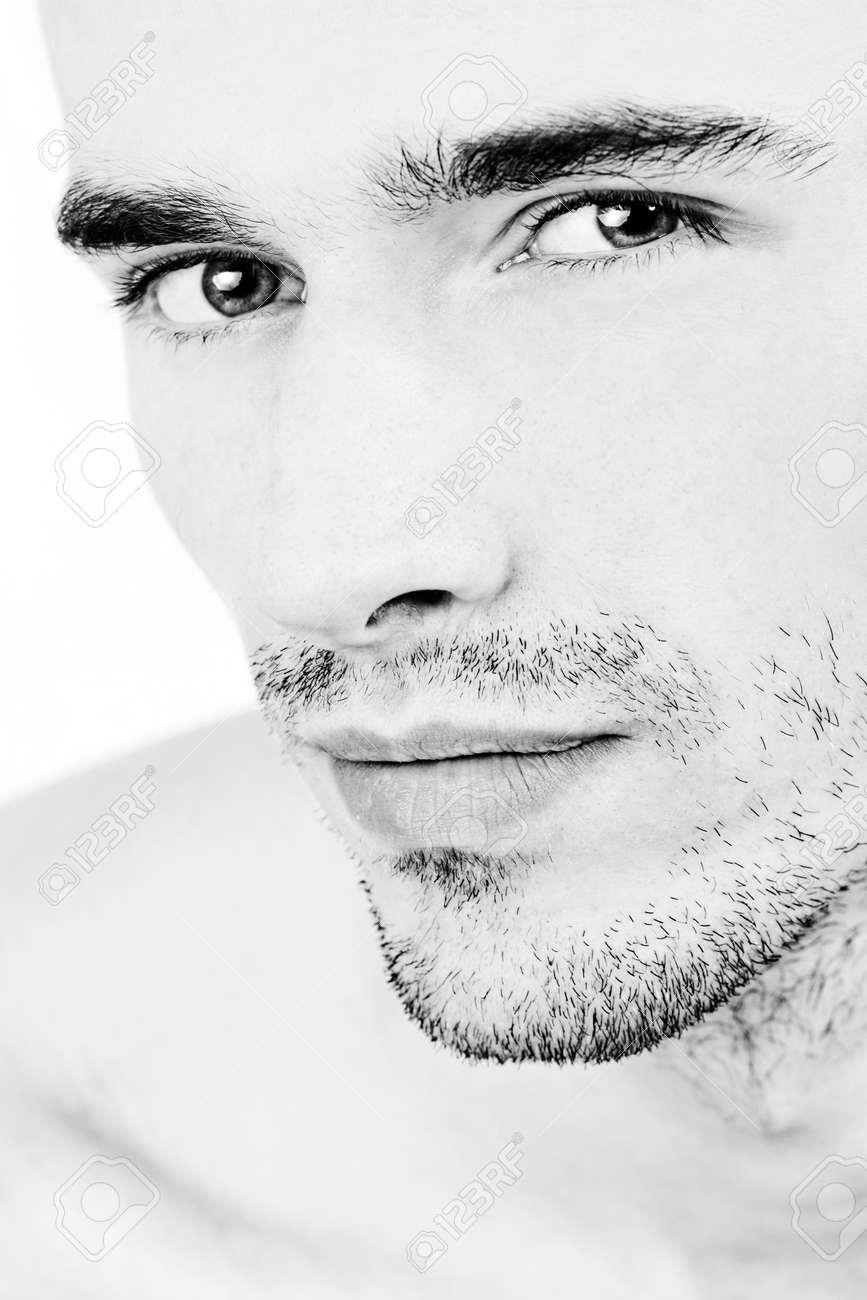 attractive man face, black and white portrait - 11956779