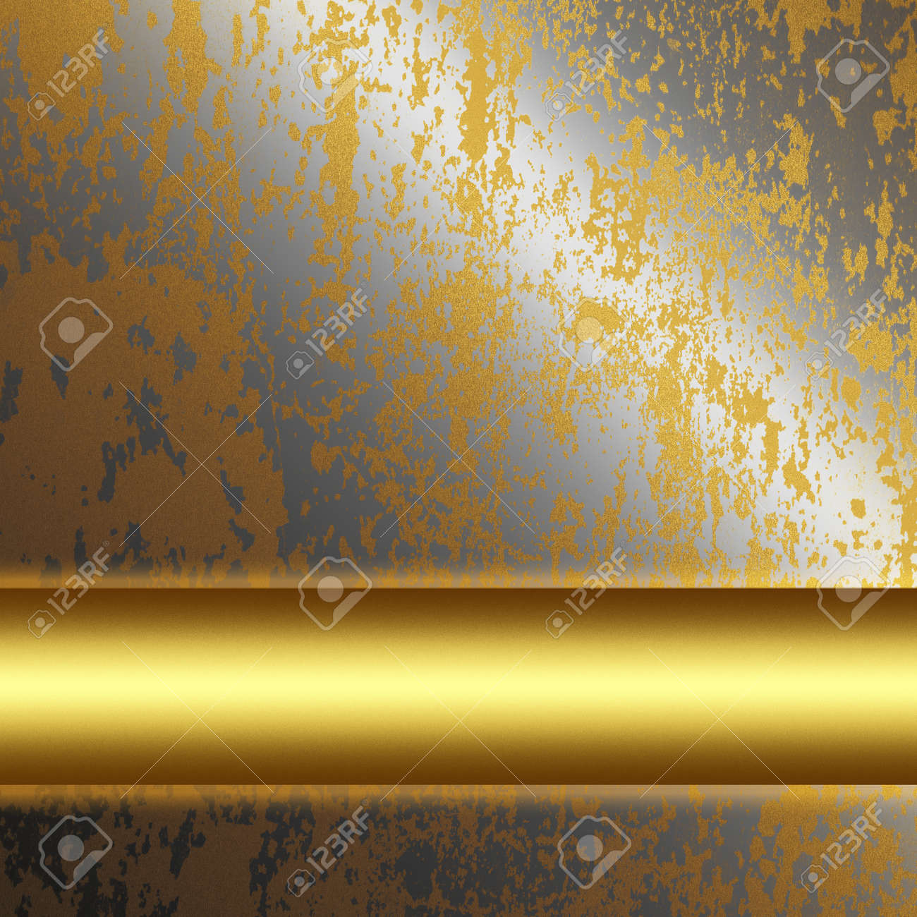 old silver metal surface with gold bar as background to insert text or design Stock Photo - 12407270