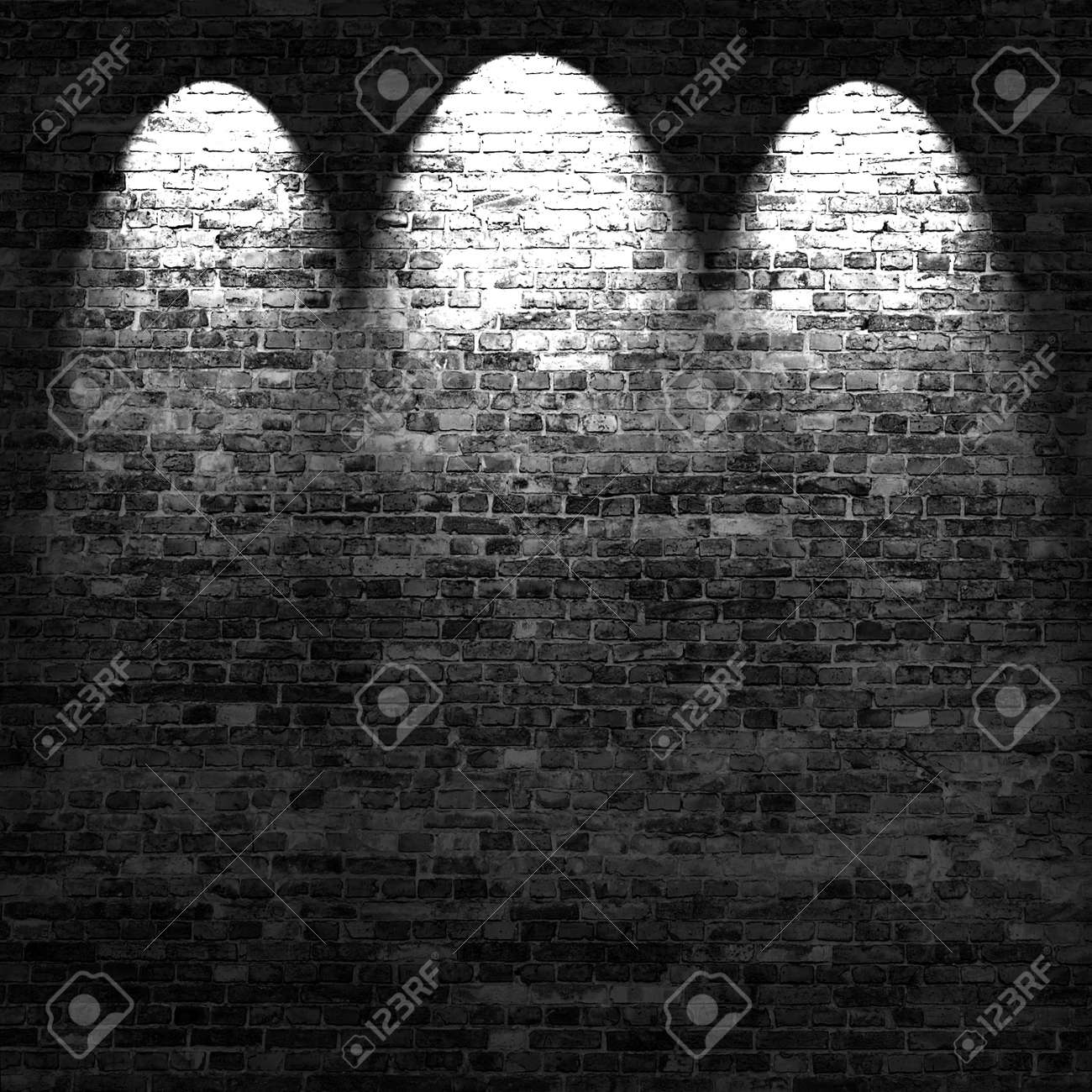 dark brick wall background in basement with beams of light Stock Photo - 15329220