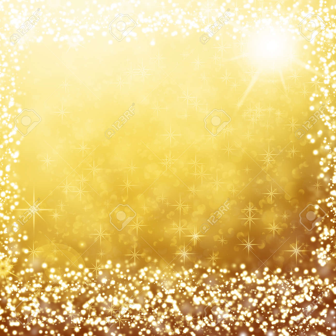 gold christmas background text frame with white stars, snow flakes, sparkles and copy space for text Stock Photo - 16162971