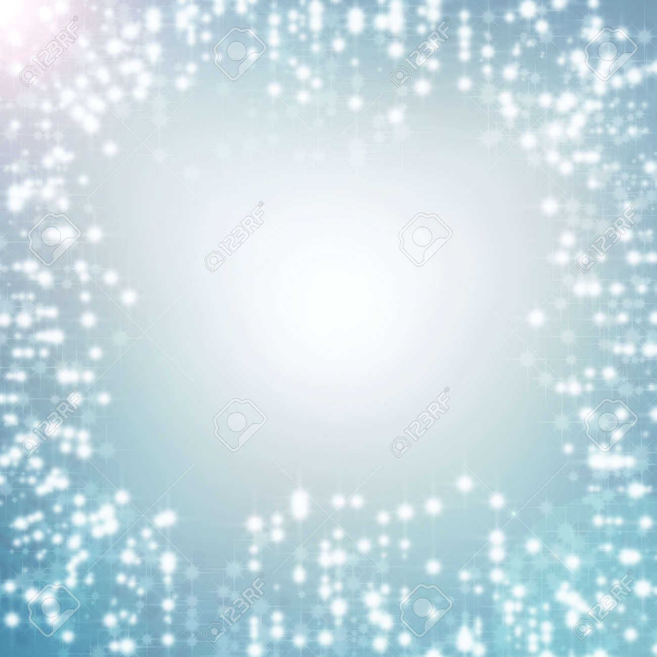 Blue Abstract Background And White Christmas Lights, Delicate ...