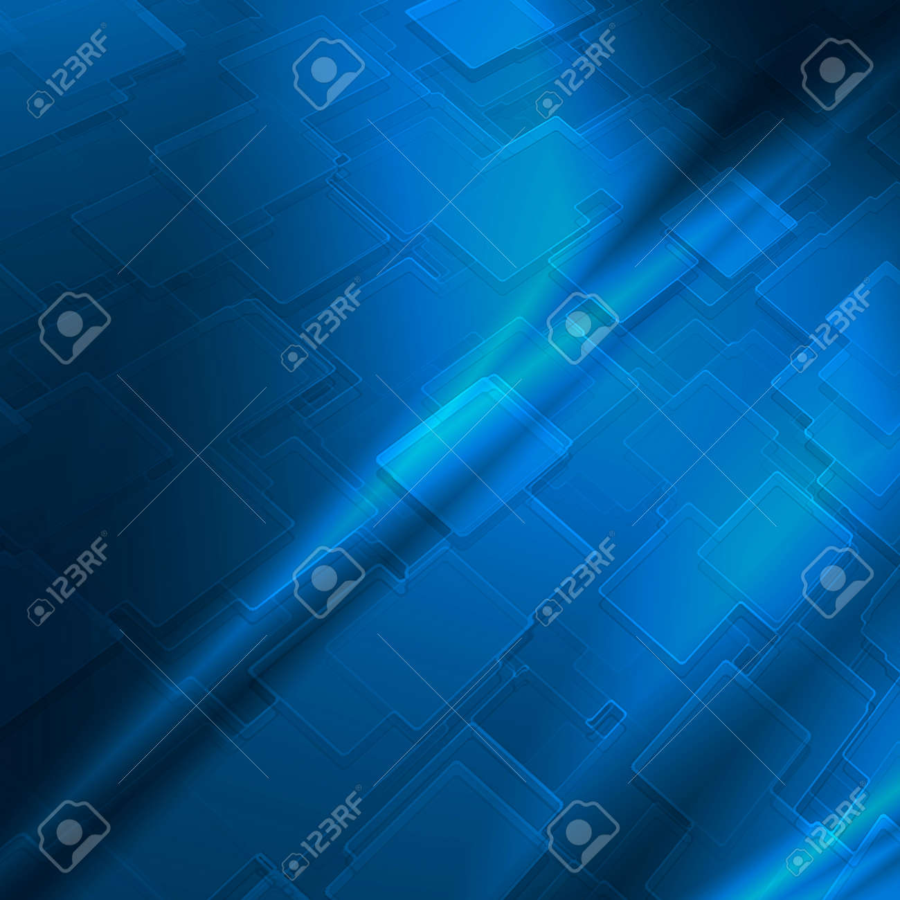 blue abstract background with cube pattern and vignette to high tech advertising or design Stock Photo - 16520149