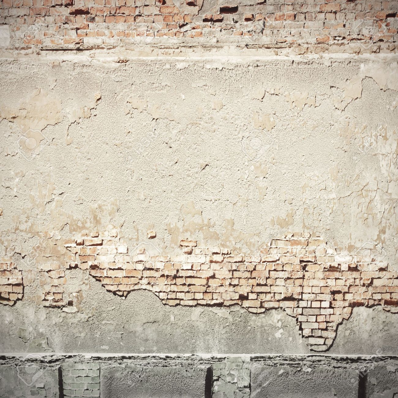 white plastered wall and brick wall texture grunge background Stock Photo - 21967396