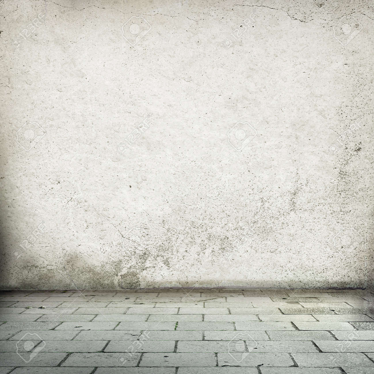 Abandoned Interior Old Street Wall Texture Background And Sidewalk Stock Photo