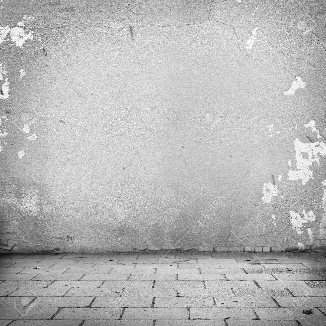 Grunge background white wall texture and blocks road sidewalk abandoned exterior urban background for your