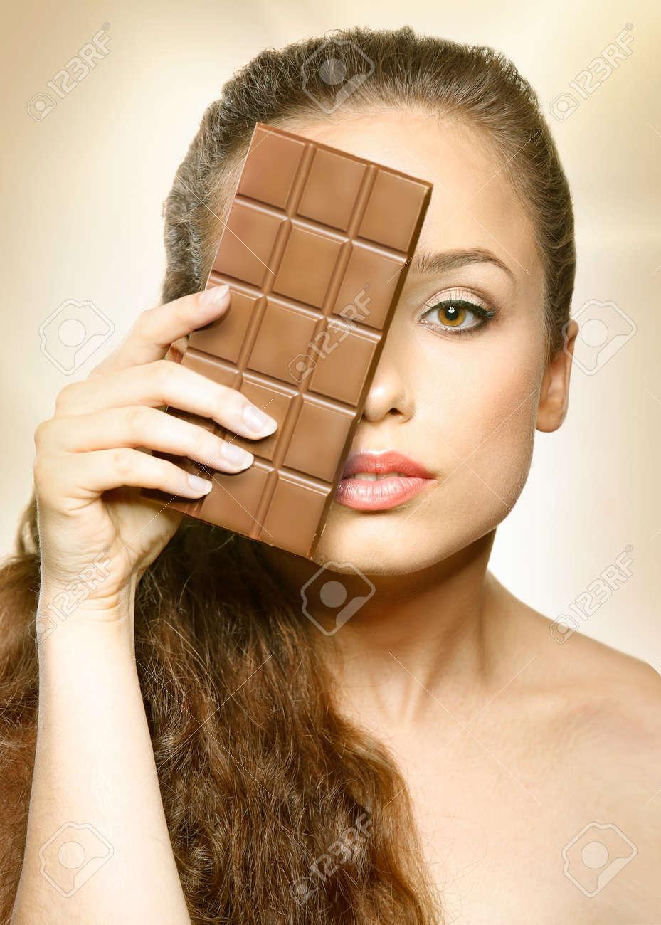 Chocolate Beautiful Girl Looking Behind Chocolate, Woman Model ...
