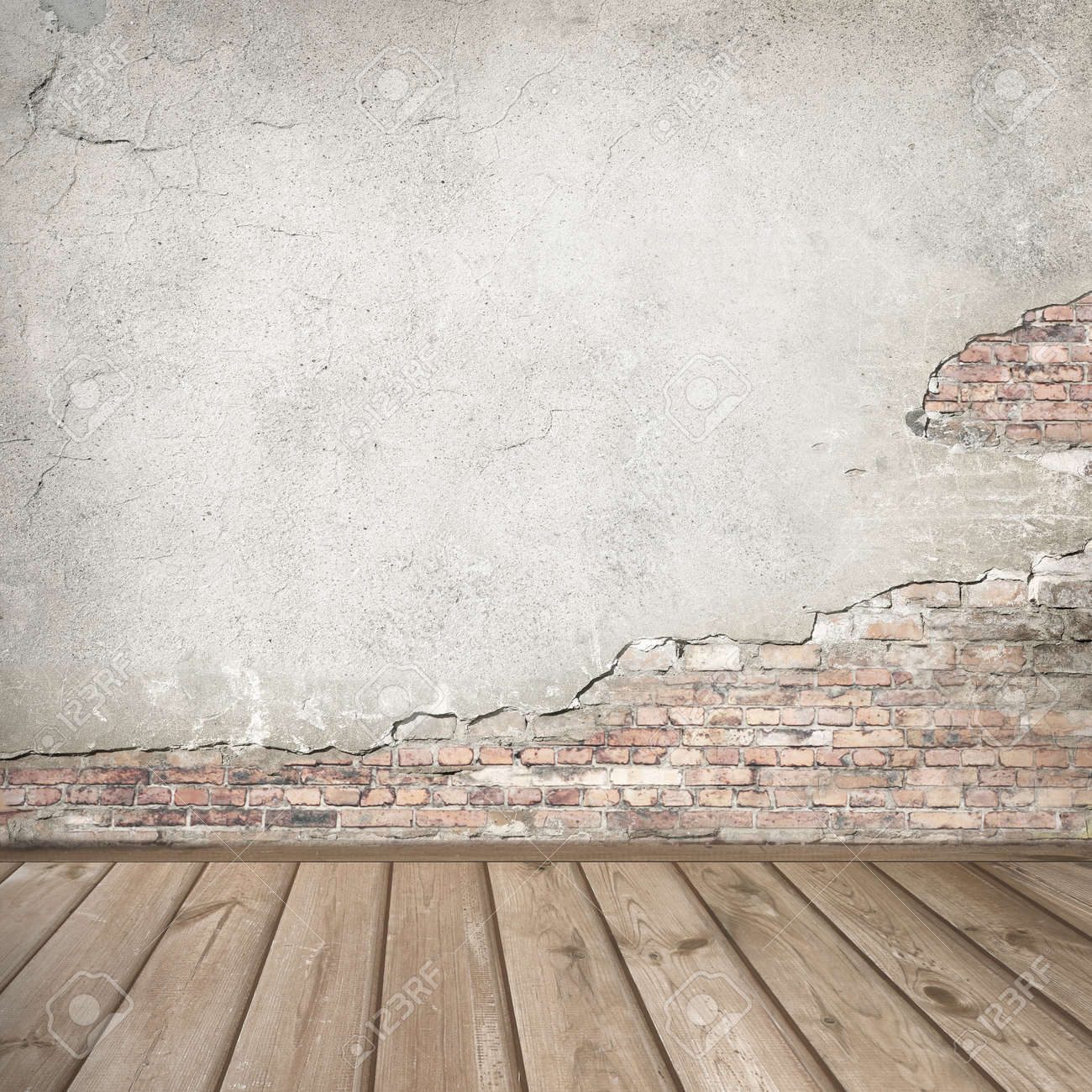 Plastered Brick Wall And Wood Interior Background Texture Stock Photo    44755956