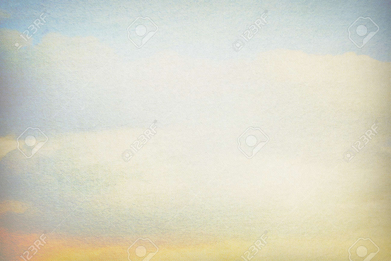 old canvas paper texture background blue sky and white clouds