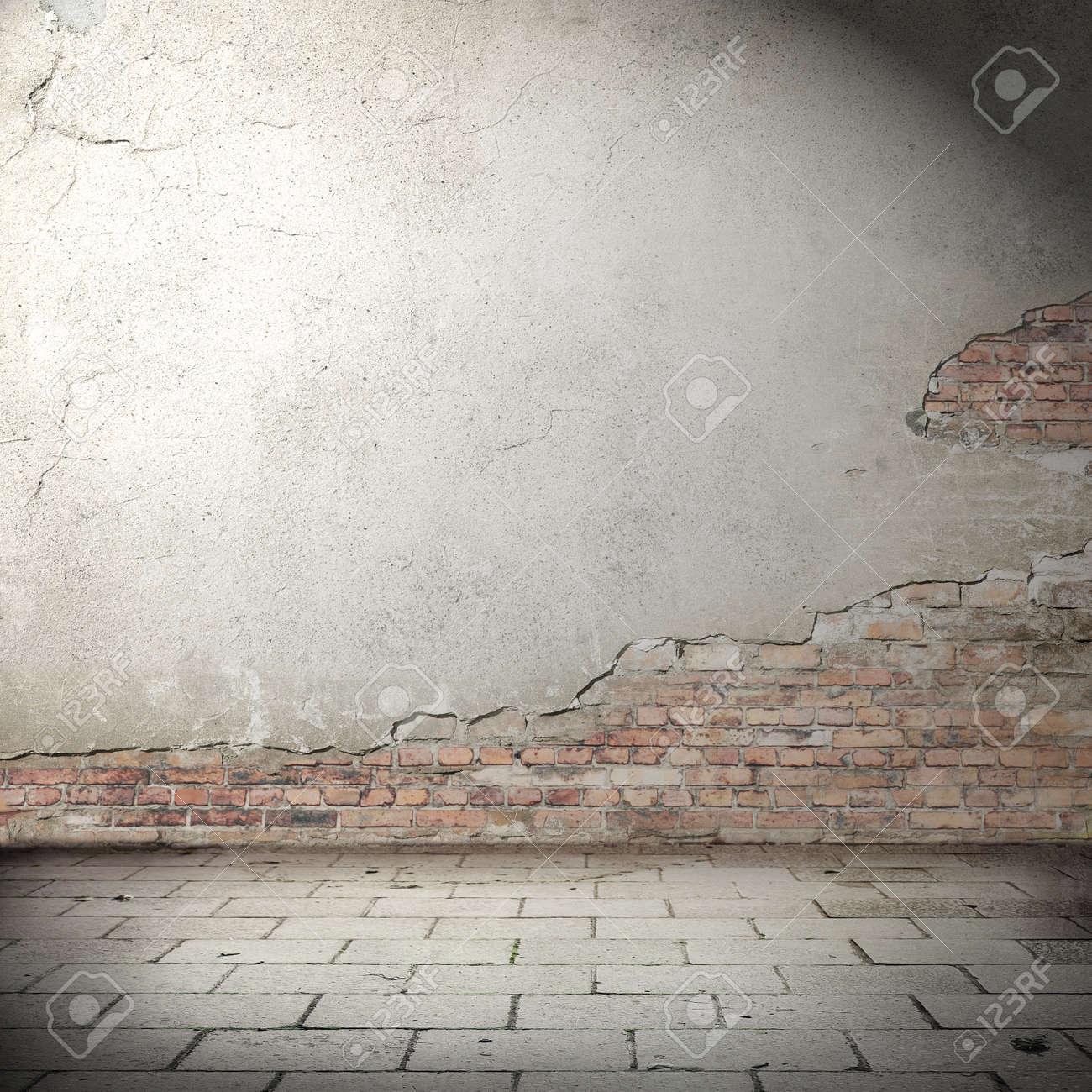 Banque Du0027images   Fond Urbain Avec Vignette Ombre, Mur De Briques En Plâtre  Texture Et Le Béton Plancher Dallage Comme Abandonné Fond Grunge Extérieur  Pour ...
