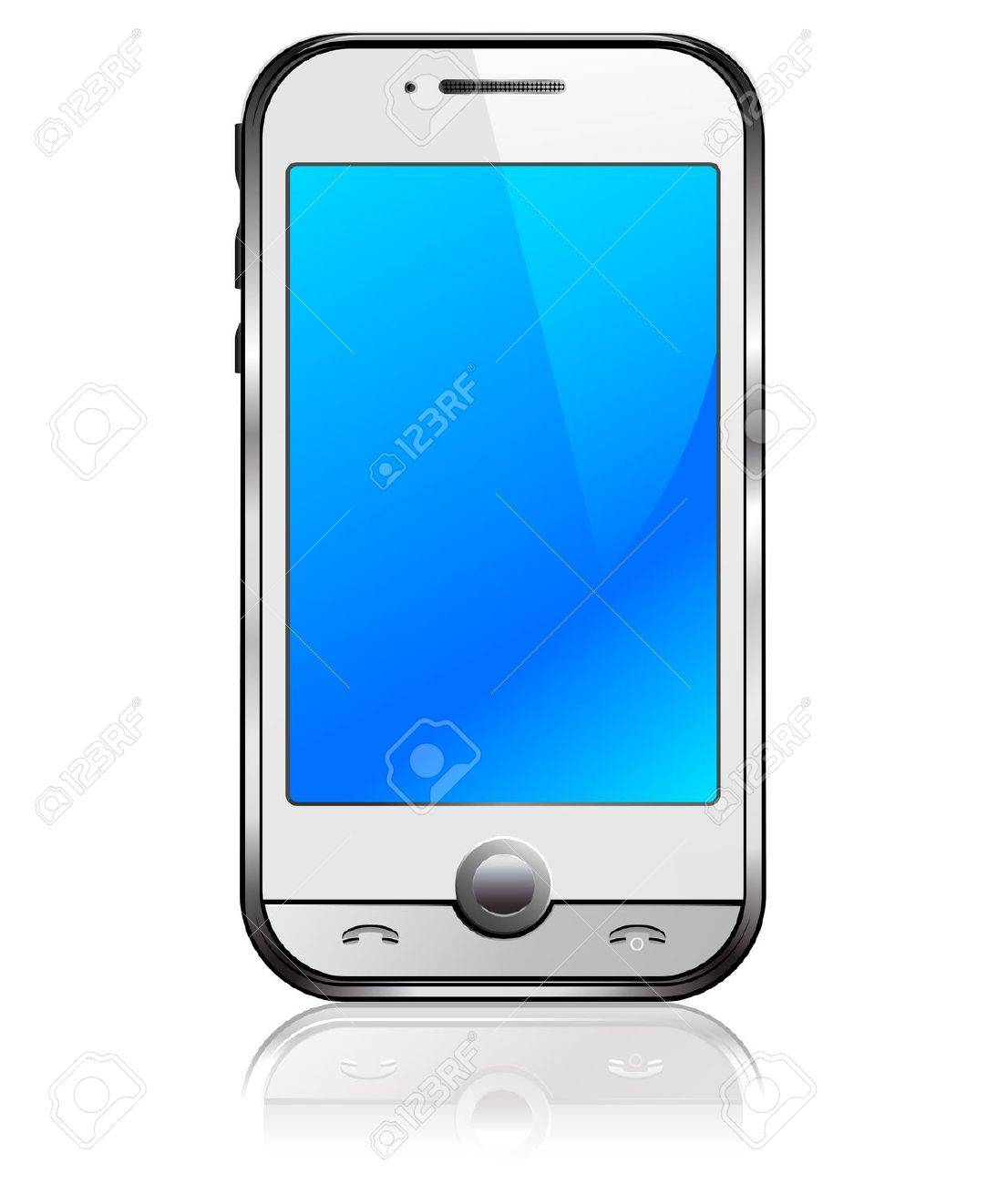 Stylish new Cell Smart Mobile phone on a white background Stock Vector - 9333095