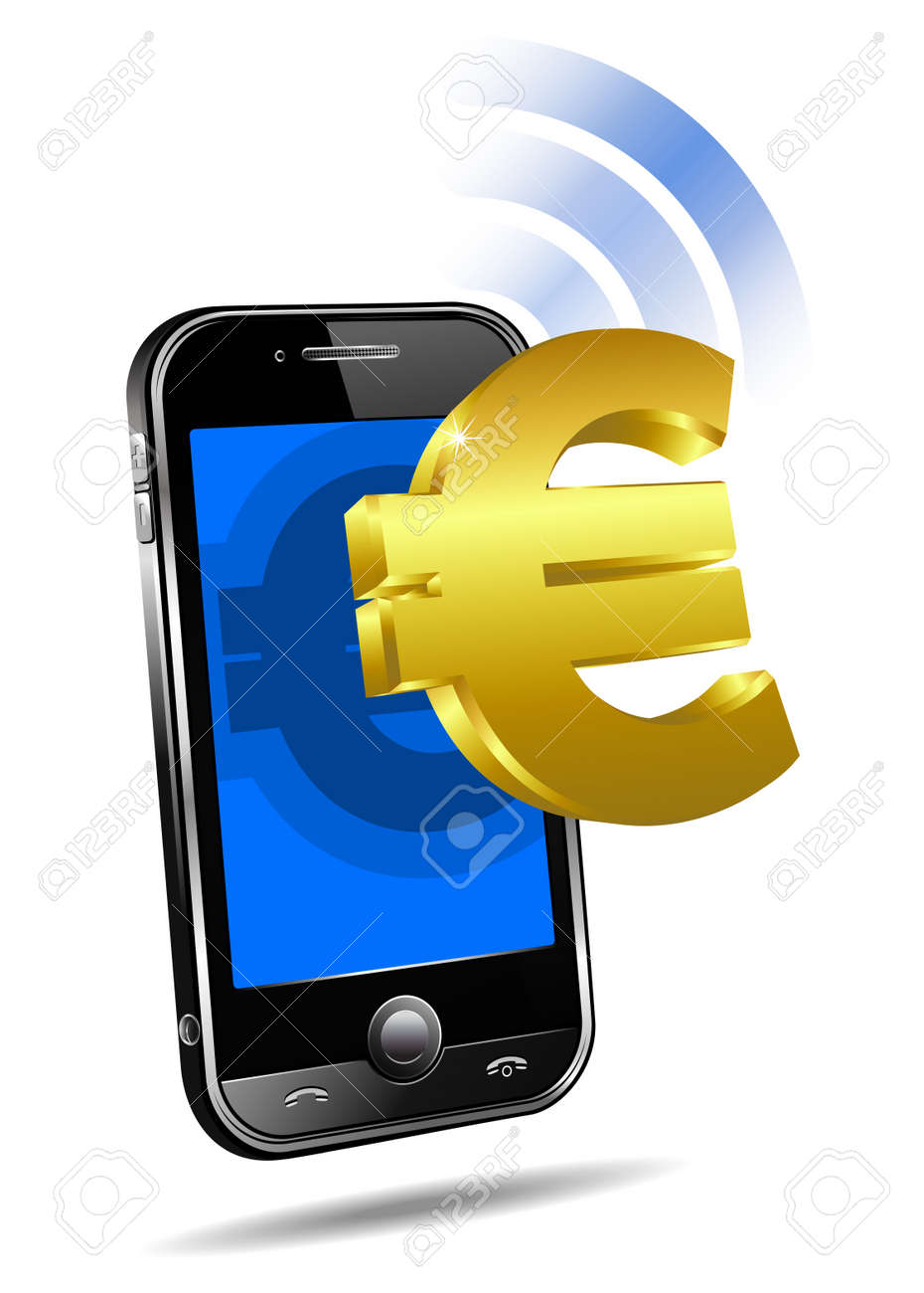Pay by Mobile tariff, Cell Smart Phone concept Euro Stock Vector - 9340476