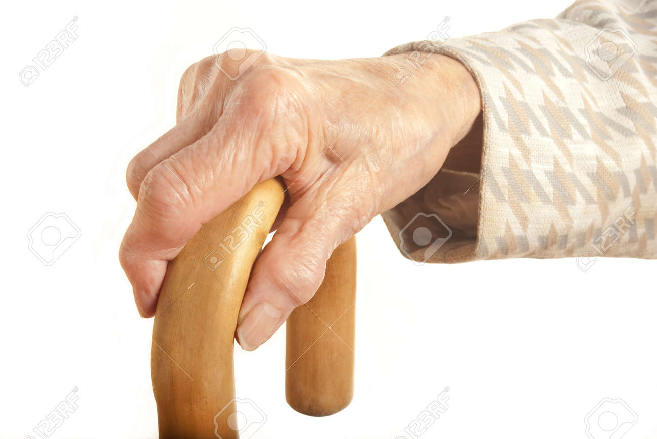 Old Lady with walking stick - My mother at 90 years old with arthritic hands Stock Photo - 10890305