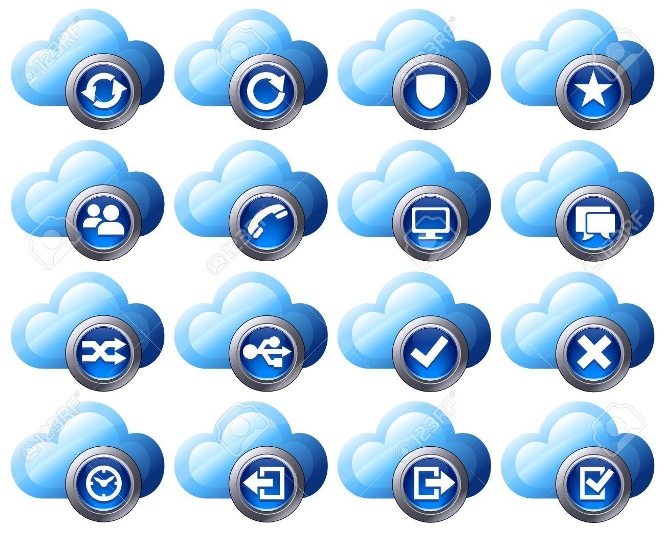 Virtual cloud icons Set Two Blue Stock Vector - 11860215