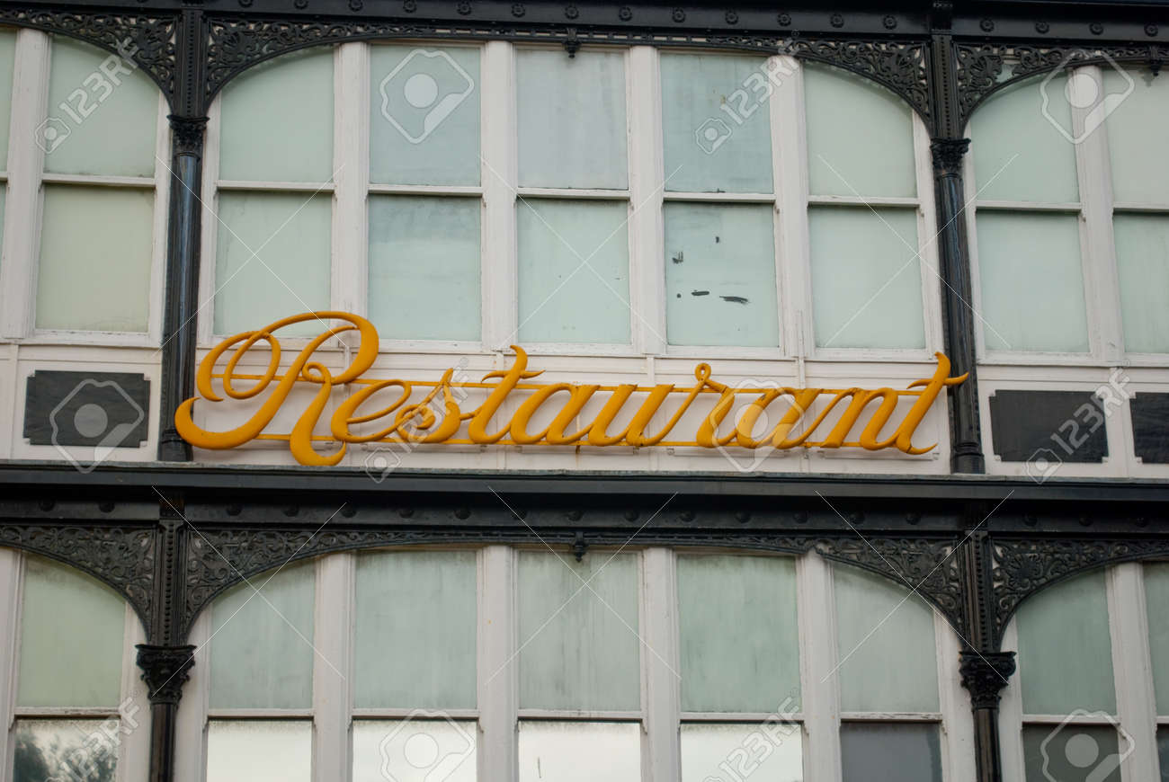 Retro Script Art Deco Restaurant Sign Stock Photo, Picture And ...