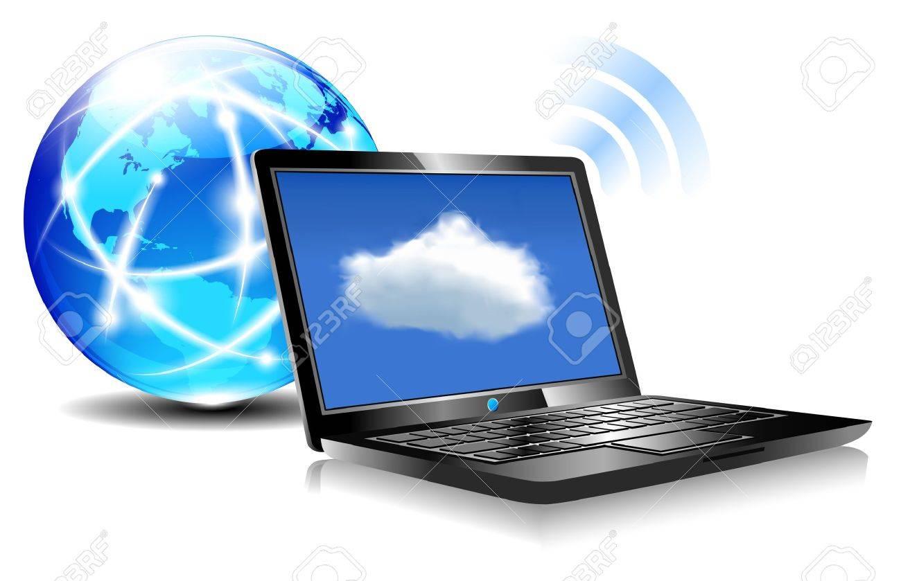 Laptop Cloud Connection Wifi Digital Royalty Free Cliparts, Vectors ...