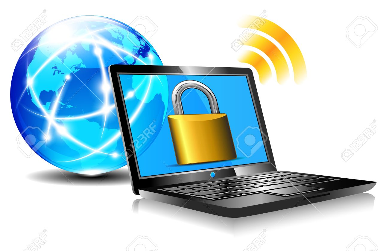 Padlock on laptop screen Laptop internet surfing protection Stock Vector - 16627017