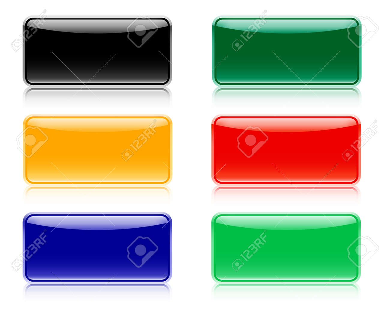 Web elements for navigation with shadow, six color set Stock Vector - 16924092