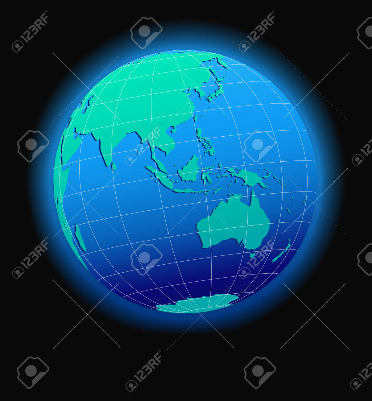 Asia And Australia, Global World In Space - Map Icon Of The World ...