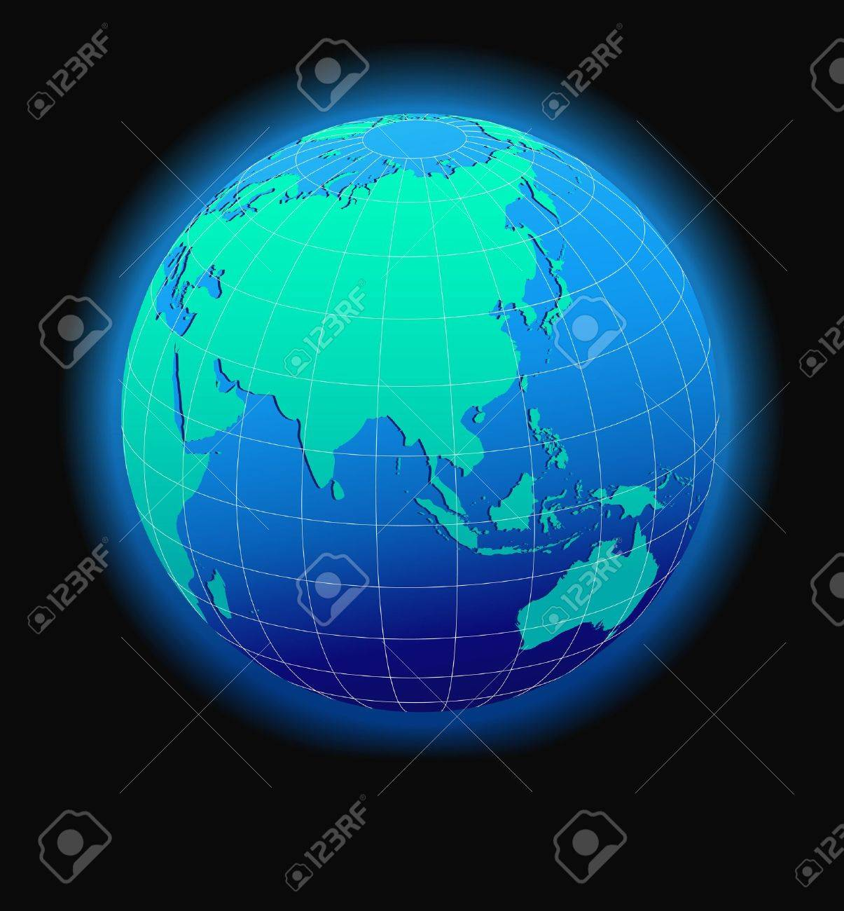 china and asia global world in space map icon of the world in globe