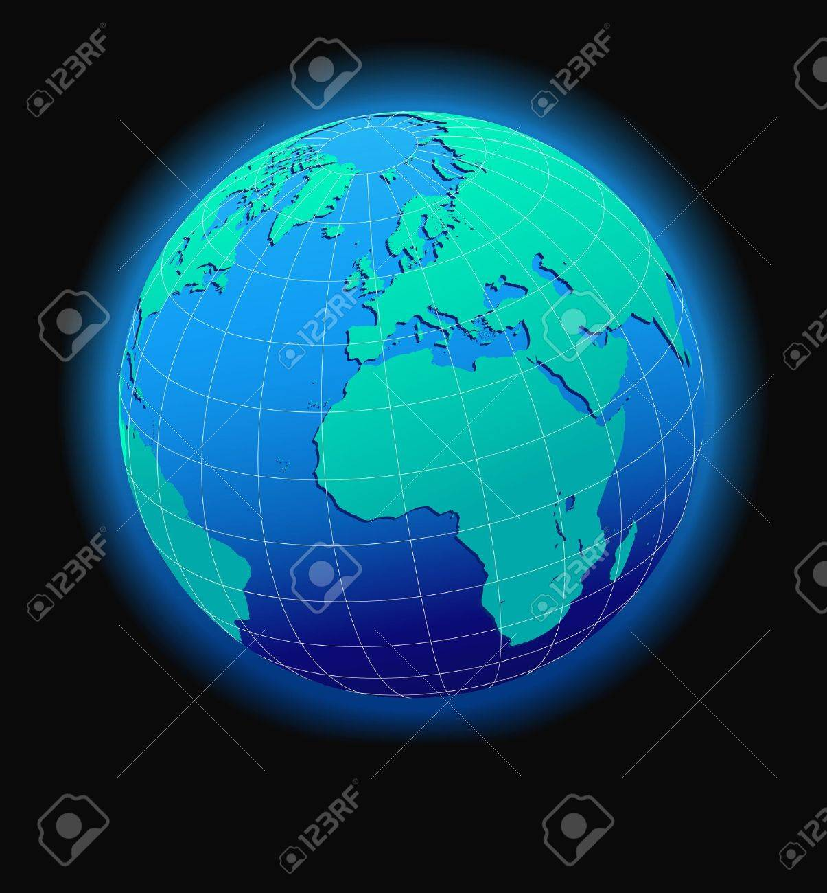 Europe And Africa, Global World In Space - Map Icon Of The World ...