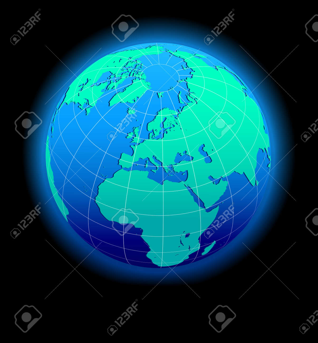 Europe Global World In Space - Map Icon Of The World In Globe ...